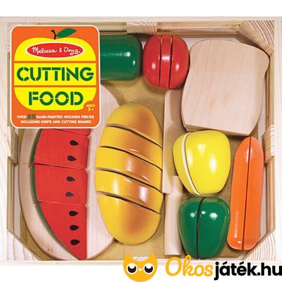 Szeletelhető kenyér, zöldségek és gyümölcsök játék fából - Melissa Doug 10487 (ME-R1)