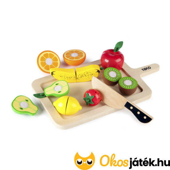 Szeletelhető játék gyümölcsök fából - Tidlo T-0216 (JC)
