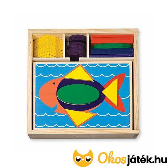 Formafelismerő fa kirakó, készségfejlesztő játék gyerekeknek Melissa Doug Beginner Pattern Blocks 10528 (ME-R2)