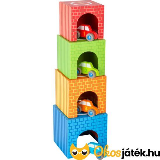 autós toronyépítő játék