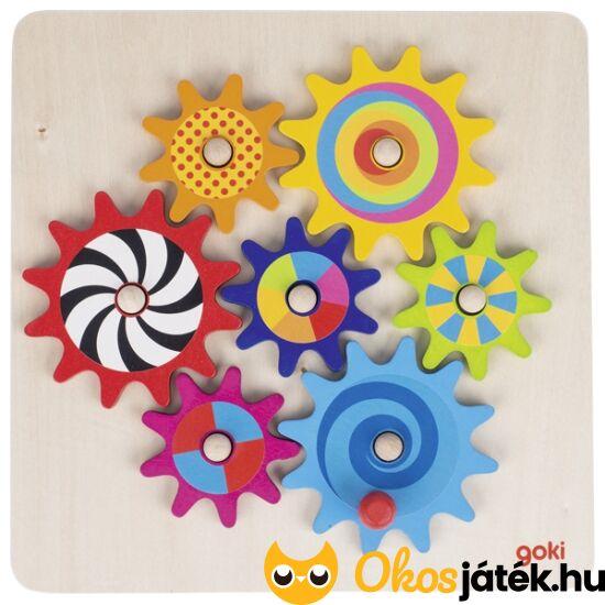 Építsd meg és forgasd! Fa fogaskerekes játék Goki 58530 (GO)