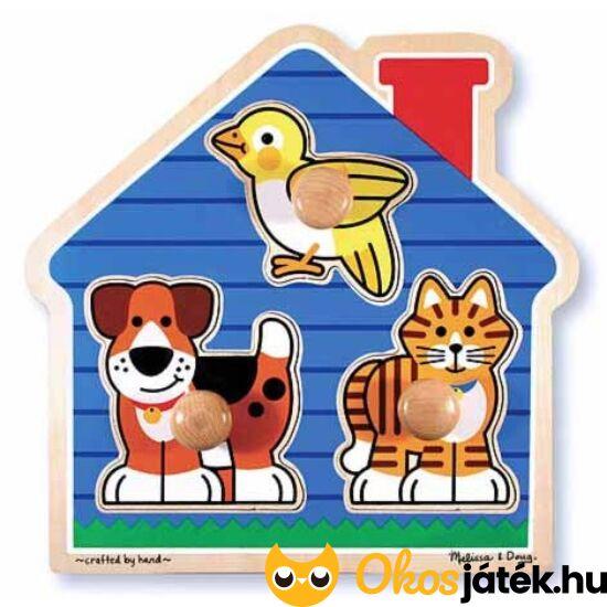 """Fogantyús fa puzzle - állatos formaberakó 1 éves gyerekeknek- Melissa Doug 12055 (ME-31) """"Utolsó darabok"""""""