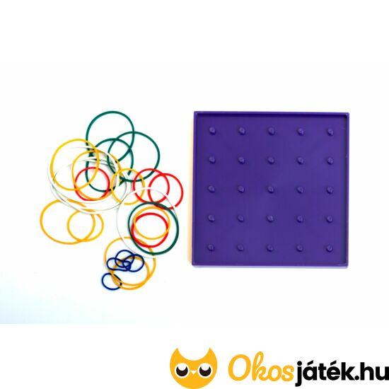 Geotábla 13*13cm -kisebb- gumis képalkotó - geoboard kreatív játék - kétoldalas - ED 120384 - Lila
