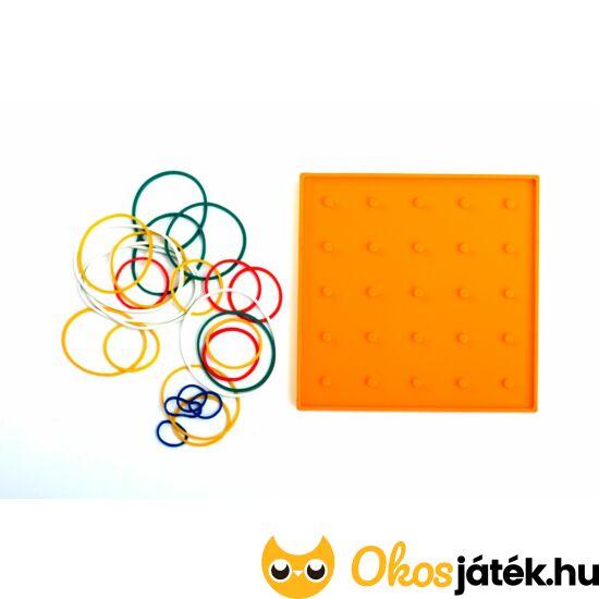 Geotábla 13*13cm (kisebb) gumis képalkotó - geoboard kreatív játék (kétoldalas) Narancs (ED)