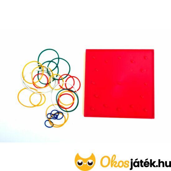 Geotábla 13*13cm (kisebb) gumis képalkotó - geoboard kreatív játék (kétoldalas) Piros (ED)