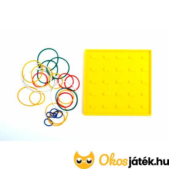 Geotábla 13*13cm -kisebb- gumis képalkotó  - geoboard kreatív játék -kétoldalas- többféle, választható színben - ED 120384 - Sárga