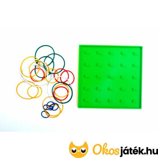 Geotábla 13*13cm -kisebb- gumis képalkotó - geoboard kreatív játék - kétoldalas - ED 120384 - Zöld