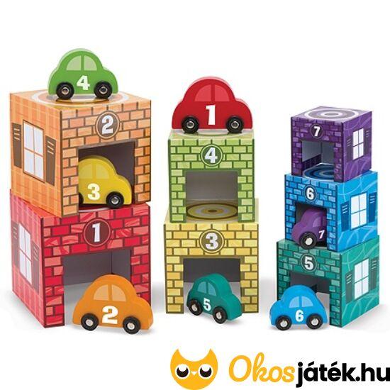 Autós toronyépítő játék - Melissa Doug 12435 (ME-R2)