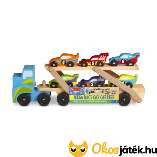 Autószállító trailer - Jumbo versenyautó szállító kamion játék Melissa Doug 12759 (ME-45)
