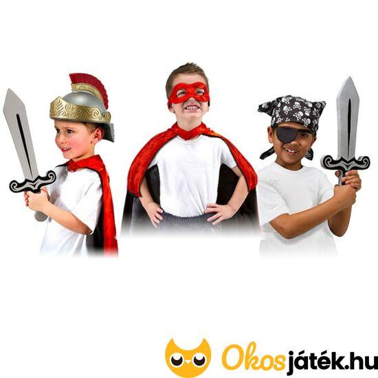 Gyerek jelmez szett fiúknak szerepjátékhoz - katona, kalóz, szuperhős - Melissa Doug 18548 (ME)