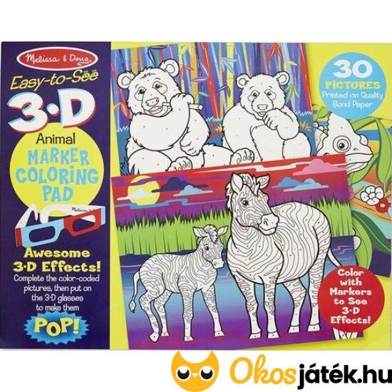 3d színező szemüveggel (30db-os, állatos) - Melissa Doug 19965 (ME-KP)