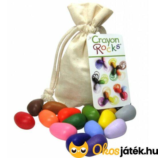 Crayon Rocks 16db-os kavics alakú zsírkréta natúr vászon tasakban (KON)
