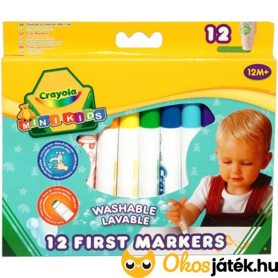Crayola mini kids 12db-os tompa hegyű filctoll készlet kicsiknek 8325