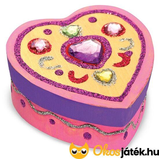 Fa ékszerdoboz készítő, díszítő kreatív játék lányoknak, szív alakú - Melissa Doug 13094 (ME-K)