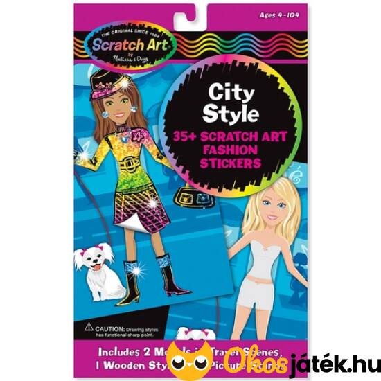 """Képkarcoló matricák divattervezős, öltöztetős kreatív játék lányoknak Melissa Doug City Style 15868 (ME-K2) """"Utolsó darabok"""""""