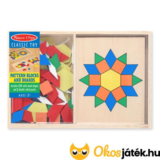 Mozaik fa kirakó kreatív játék gyerekeknek Melissa Doug 10029 Pattern Blocks and Boards (ME-R2)