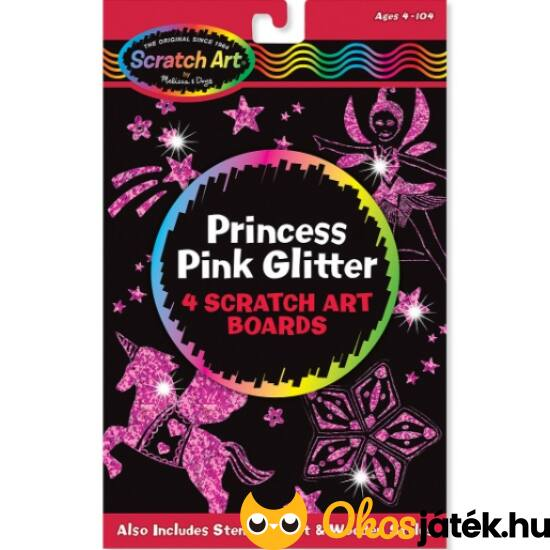Rózsaszín glitteres képkarc kreatív játék lányoknak ME 15810 (ME-K2)
