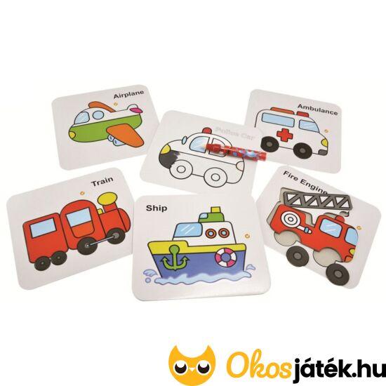 Varázs színező táblák és puzzle egyben - autós, járműves 140-20 (BLS)