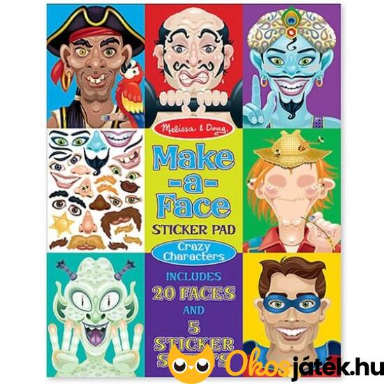 Vicces arcok - Kalózok, szuperhősök - matricás kreatív játék  - Melissa Doug 14237 (ME-KP)