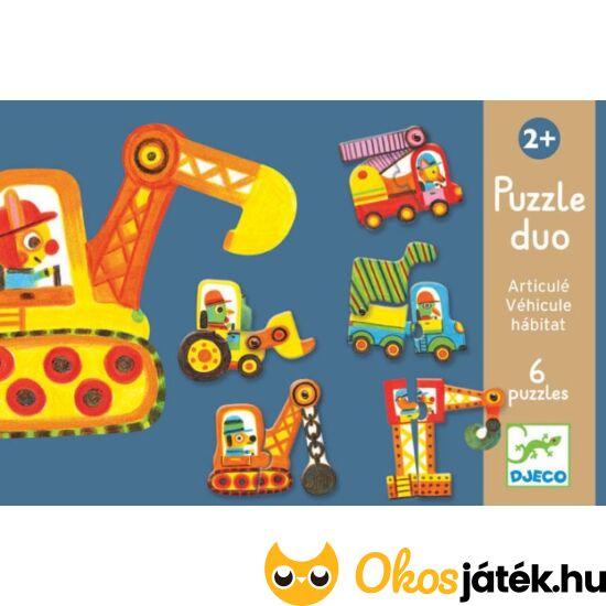 Puzzle duo - Járművek 2db-os puzzle mozgó elemekkel - Djeco 8170