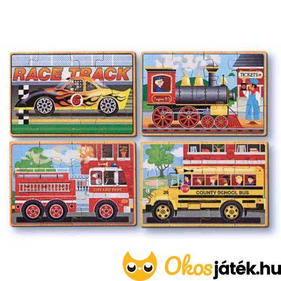 Fa kirakó, 4*12 darabos, autós, vonatos, tűzoltó autós - Melissa 13794 (ME-73)