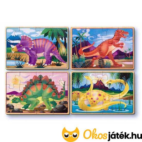 Fa puzzle, dinoszauruszos 4*12 darabos kirakó - Melissa Doug 13791 (ME-65)