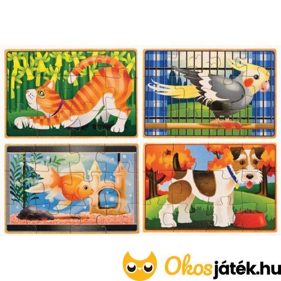 """Puzzle kirakó készlet - 4db 12 darabos """"házi kedvenc"""" puzzle Melissa 13790 (ME)"""