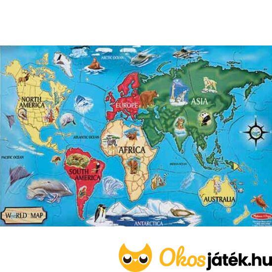 """Világtérkép padló puzzle, 33 darabos - Melissa & Doug 10446 (ME-23) """"Utolsó darabok"""""""