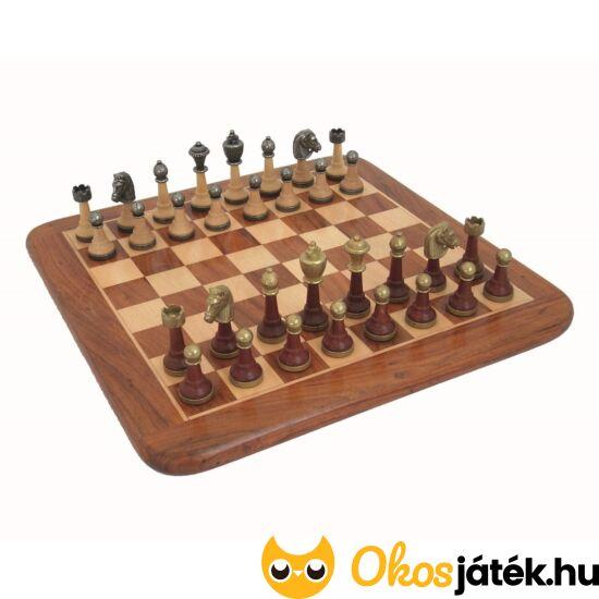 Rózsafa sakktábla fa+fém sakkfigurákkal - Italfama 141MW+G10200