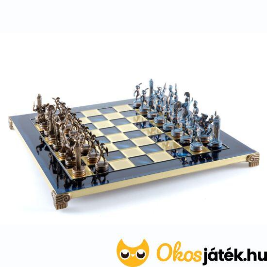 Manopoulos exkluzív, egyedi sakk készlet fém - sárgaréz figurákkal - S4BBLU