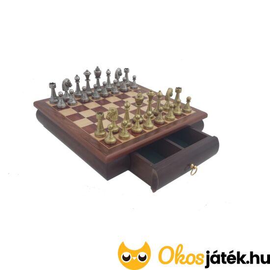 Staunton sakk készlet fém figurákkal, fiókos sakktáblával - Italfama 70M + 332W