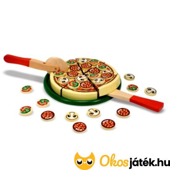 Szeletelhető fa pizza játék gyerekeknek 10167 (ME-44)