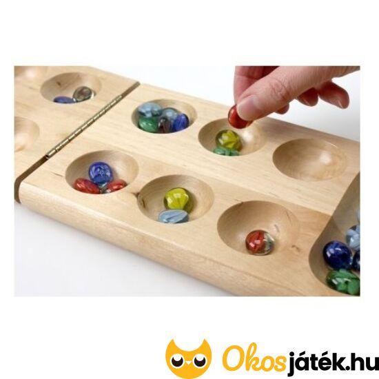 Kalaha társasjáték - Mancala logikai táblajáték üveg kövekkel (Tactic) 14005 (YO)