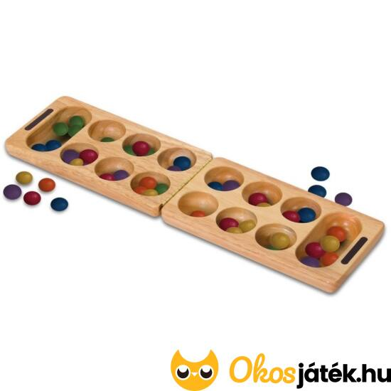 Kalaha társasjáték - Mancala logikai táblajáték színes fa kövekkel, összecsukhatós (TB)