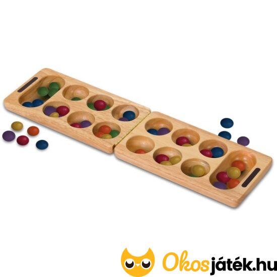 Kalaha társasjáték - Mancala logikai táblajáték színes fa kövekkel, összecsukhatós (TB) 13033